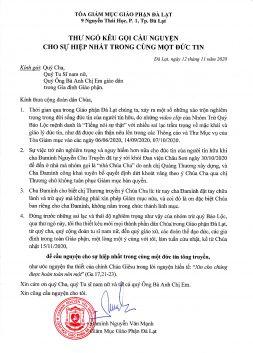 giáo phận đà lạt, tòa giám mục ra vạ cấm chế với chị trs. nguyễn thị thương, thông báo từ tòa giám mục đà lạt