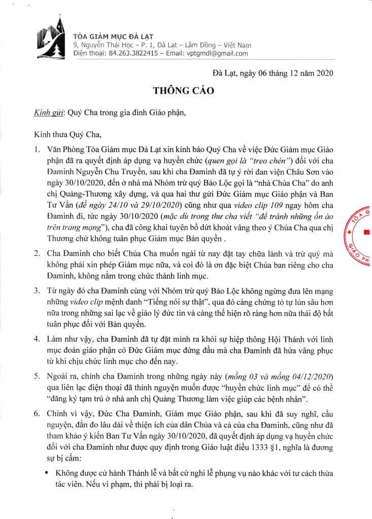 thông báo áp dụng vạ huyền chức, tòa giám mục đà lạt, cha Đaminh Nguyễn Chu Truyền